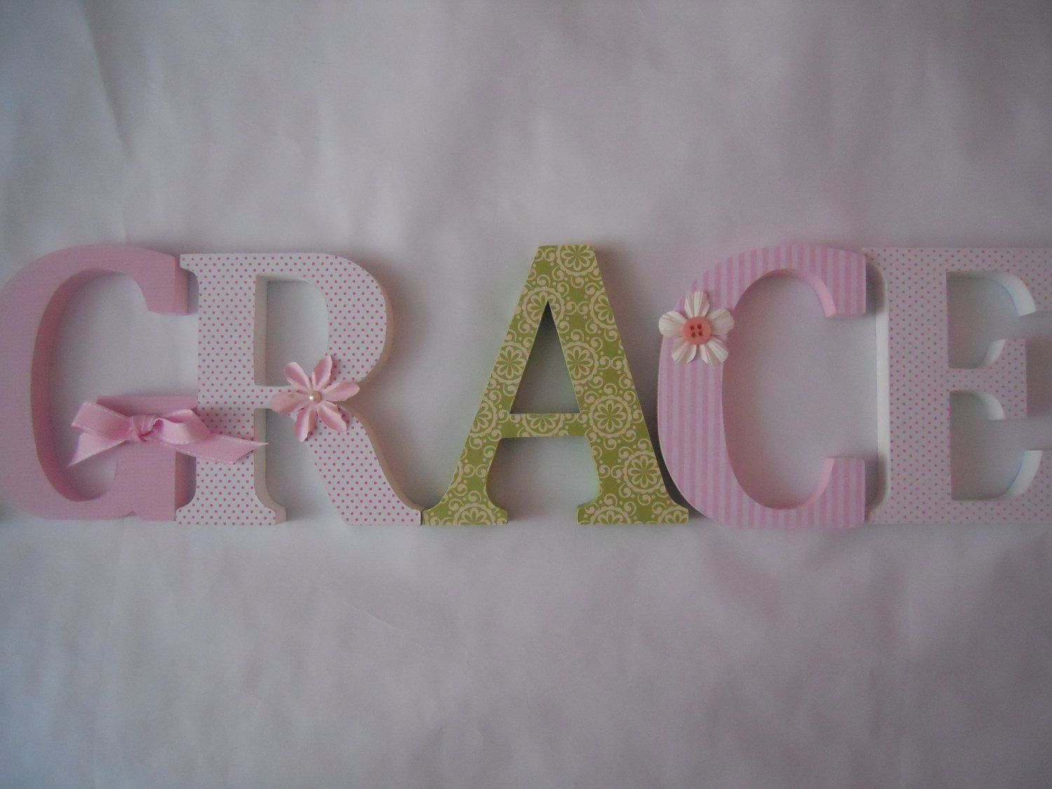 Wooden  letters for nursery in pink white and by SummerOlivias, $12.00