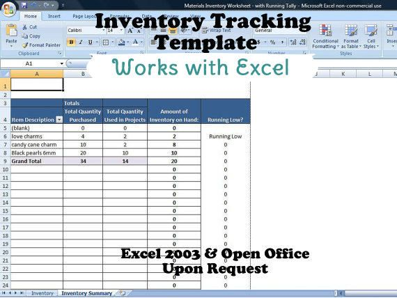 Inventory Tracking Template, Calculates Running Tally of Inventory