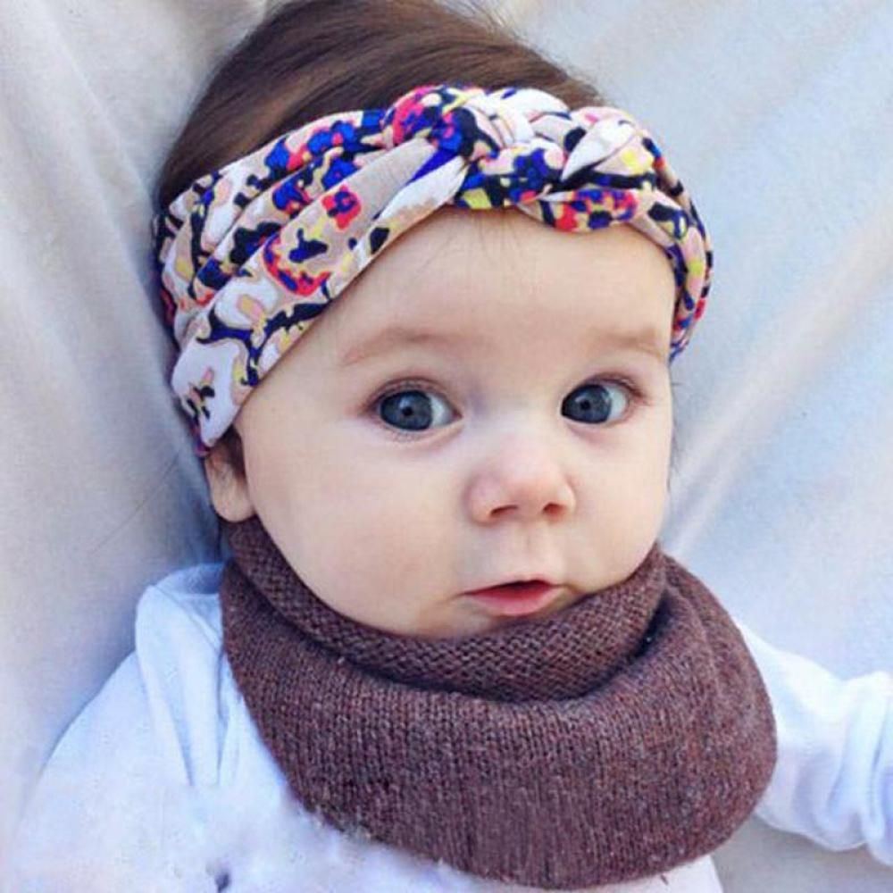 New Babys Unisex Print Knot Cross Headband Baby Kid/'s Hair Accessories Hairbands