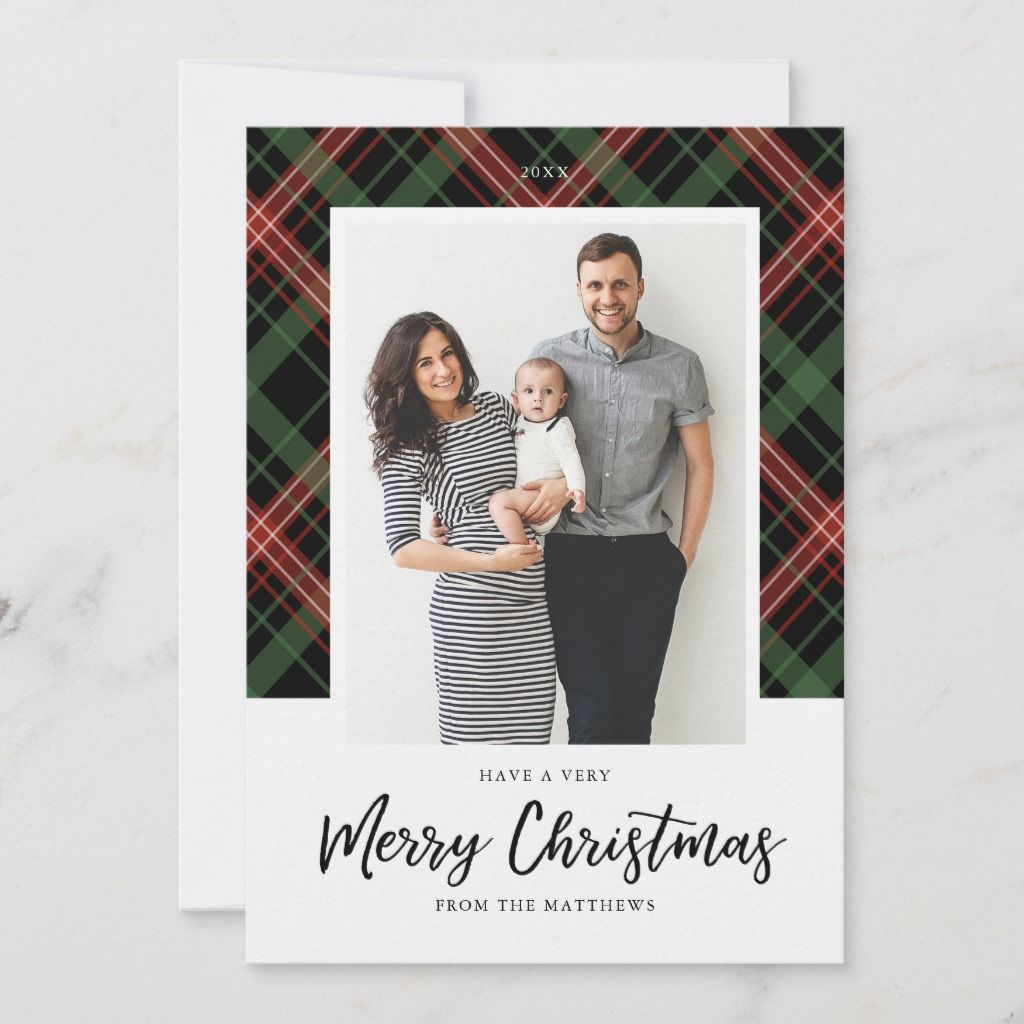 5x7 Christmas plaid, Christmas photo Card. Customizable. Part of a collection