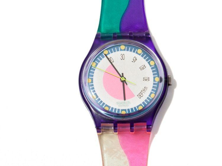 Eclectic range of seven Swatch watches, Switzerland 1990
