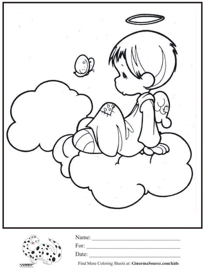 Coloring Sheets | Kids coloring page Angel on Cloud Halo coloring ...