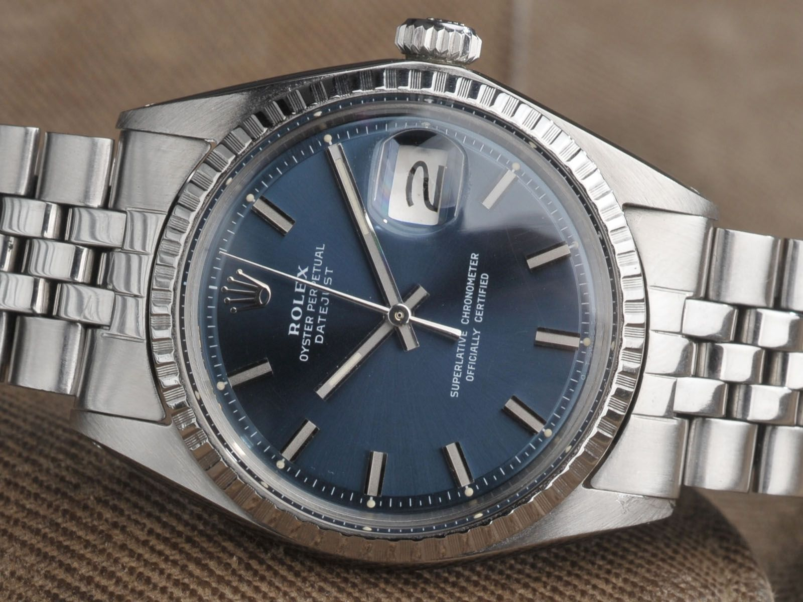 e0d067f82fd An Amazing vintage Rolex 1603 Datejust with blue Sigma dial and wide body  indexes. Great condition and such a great mens style watch.