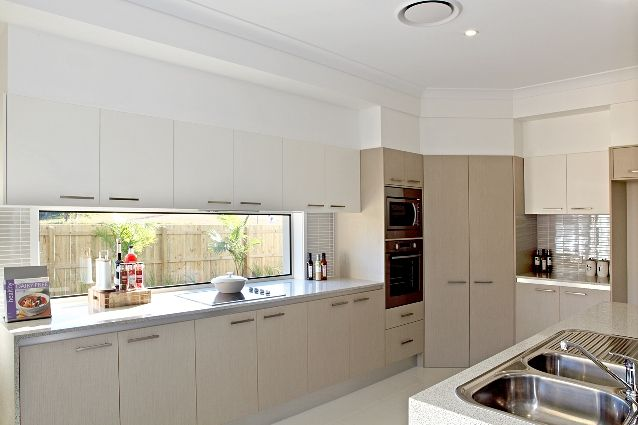 Window instead of splashback kitchen ideas pinterest for Display home kitchens