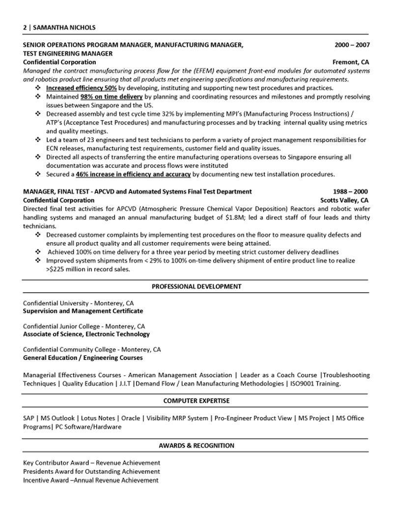 Senior Executive Manufacturing Engineering http//www