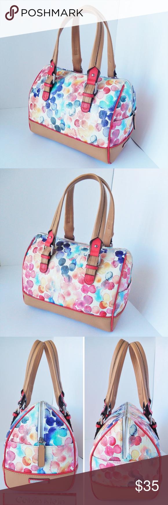 Calvin Klein Watercolor Floral Petal Logo Handbag Calvin