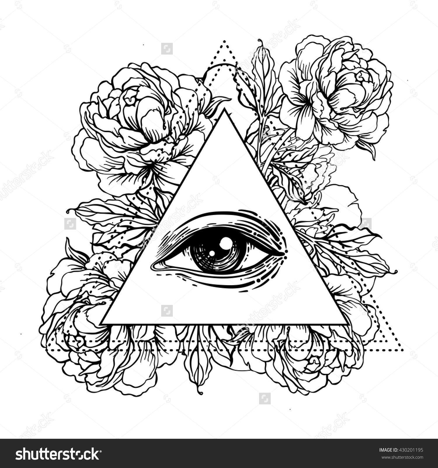 Blackwork Tattoo Flash. All Seeing Eye Pyramid Symbol With