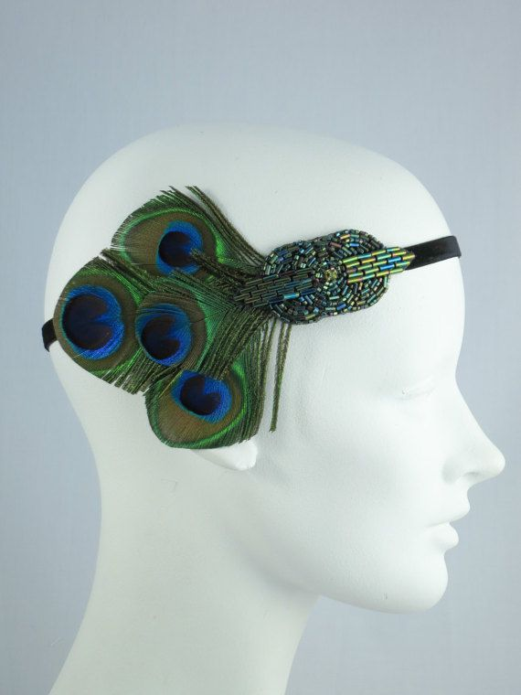 peacock feather headband 1920s flapper saloon girl belle epoch emerald green pinterest. Black Bedroom Furniture Sets. Home Design Ideas