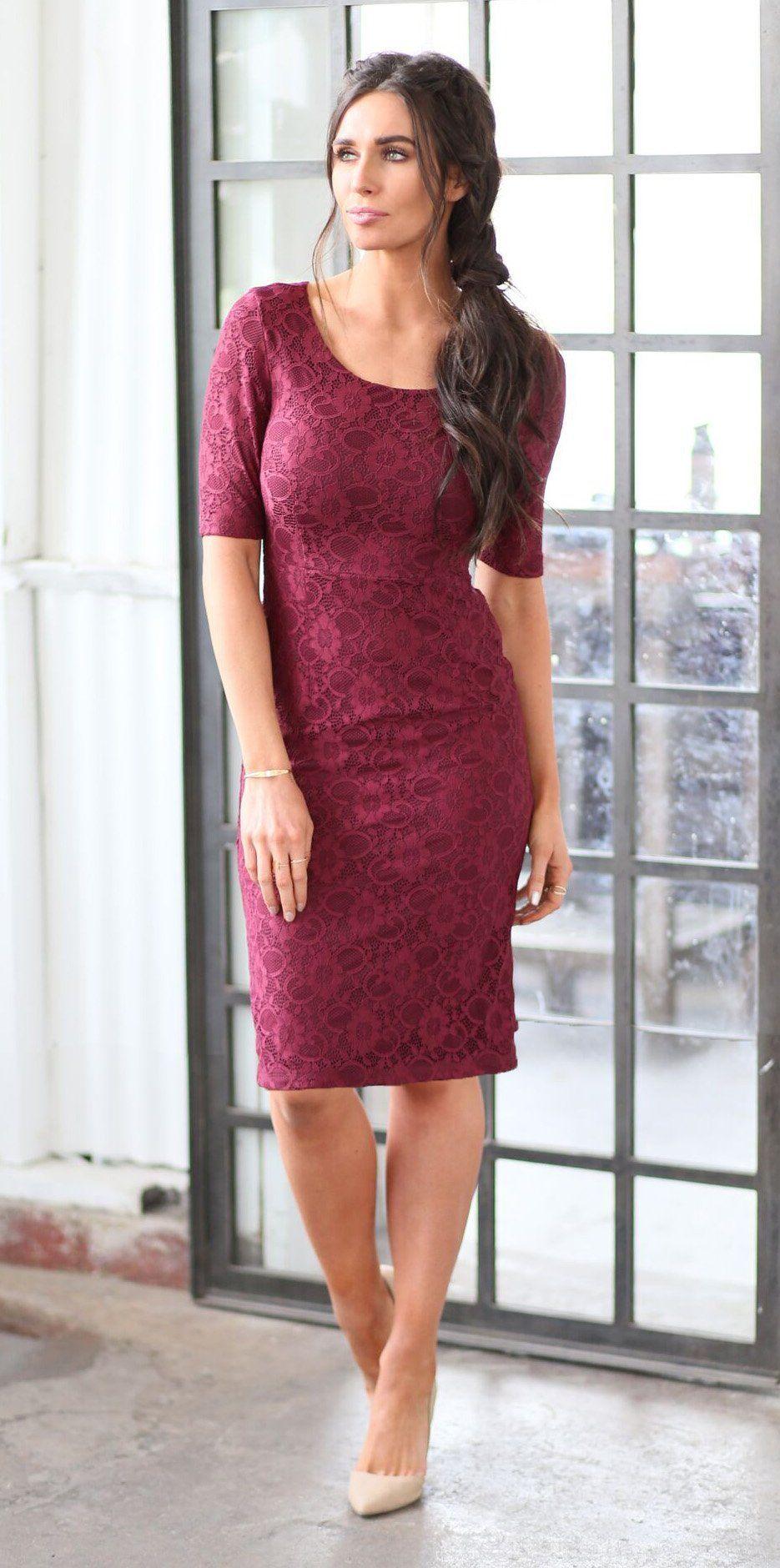 Alaina Dress (Burgundy) #businessattiresummer Modest, Cream lace dress, can be accessorized with a belt or worn alone - cute and perfect for Summer! Teacher clothing, conservative business attire. #businessattiresummer