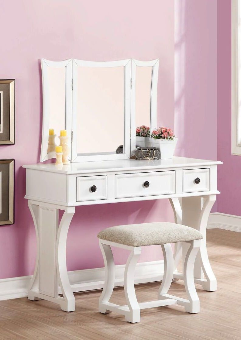 Mirrored Vanity Table And Stool: Eveline Vanity Set With Mirror