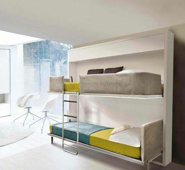 Schrankwand mit Klappbett Wohnideen für praktische