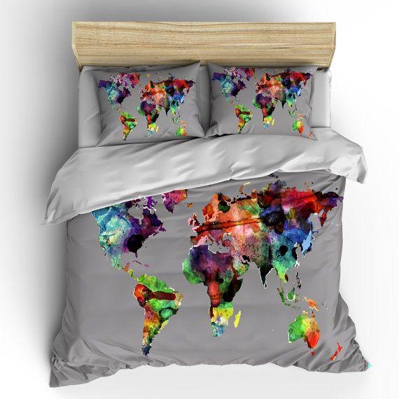 Custom bedding duvet cover watercolors on grey world map tw qu or custom bedding duvet cover watercolors on grey world map tw qu or ki gumiabroncs Gallery