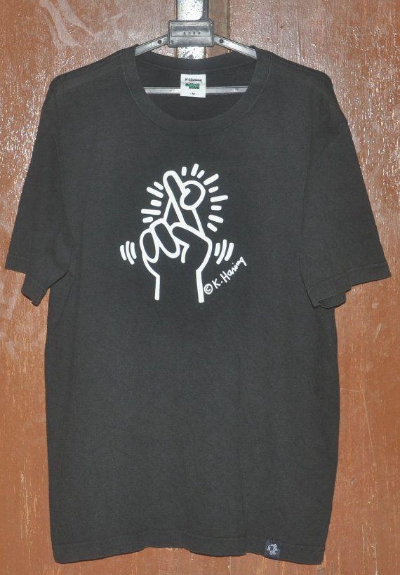 83b83418d Vintage keith haring k haring hand symbols cross fingers t-shirt ...