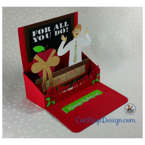 teacher holiday gift card holder or greeting card svg file tutorial