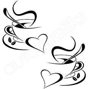 2x COFFEE CUPS / HEART Kitchen Decals / Wall Art Stickers (COF3 #coffeecups