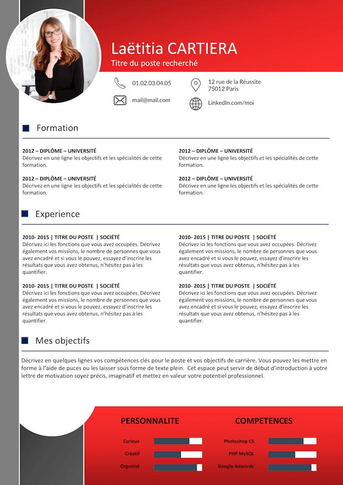 CV Sombre et Rouge Exemple cv, Modèle cv gratuit, Modèle cv