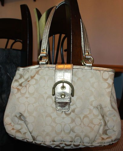 Coach 2011 Authentic $348 Soho Signature Metallic Gold Leather Hobo Bag Purse | eBay