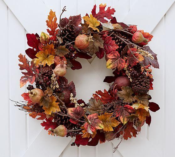 Faux Pomegranate Pinecone Wreath Pottery Barn Pinecone Wreath Fall Wreaths Rustic Fall Decor