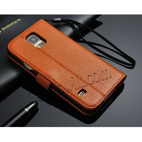 High Quality Genuine Cowhide Leather Case For Samsung Galaxy S5 - Brown US$19.99