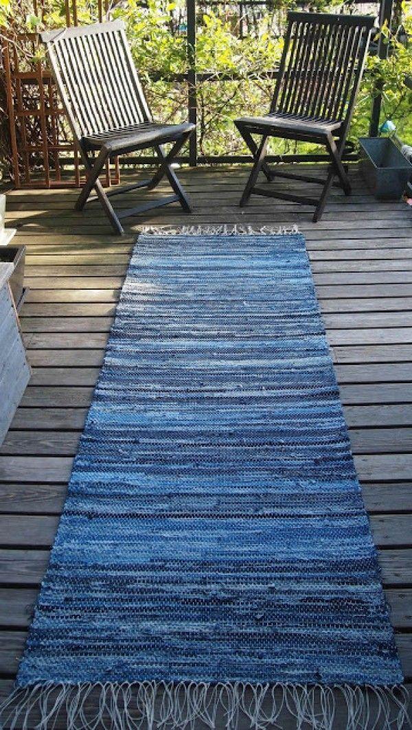 diy l ufer teppich teppich dekoideen m belideen teppich teppich h keln alte jeans und. Black Bedroom Furniture Sets. Home Design Ideas