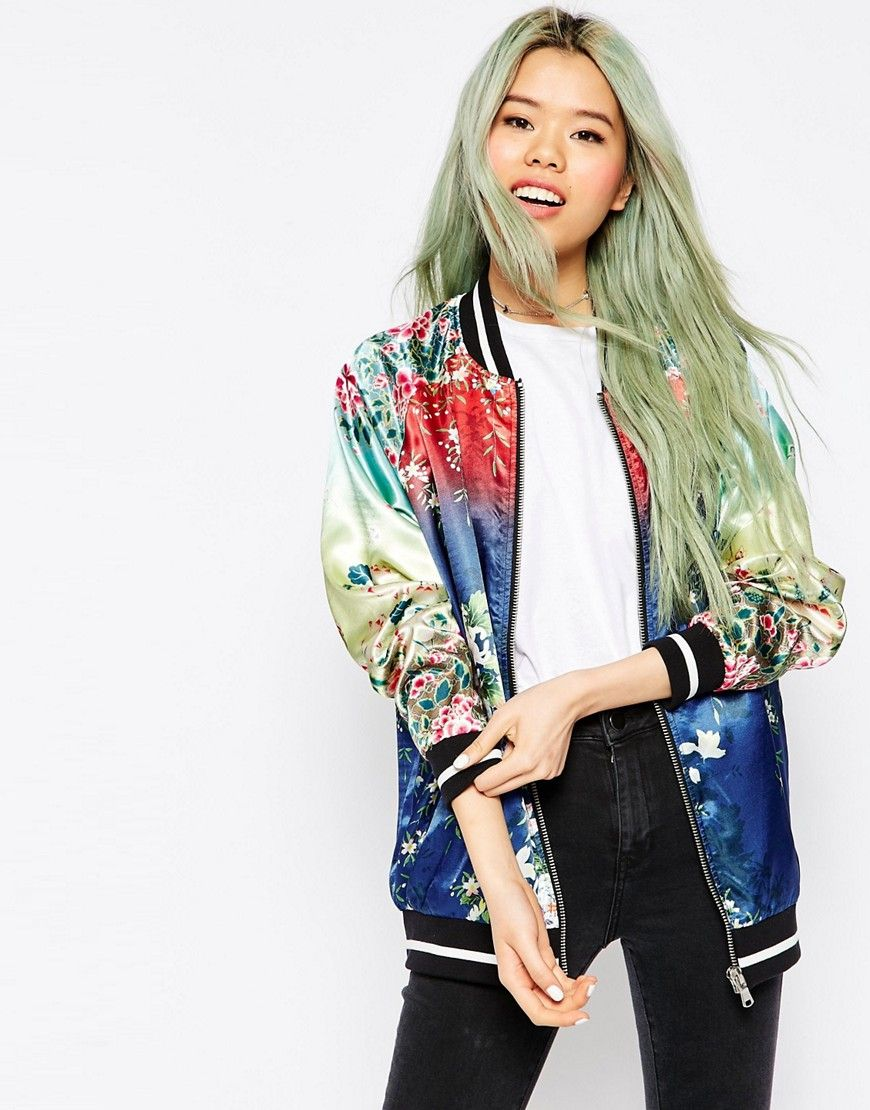 Image 1 ofASOS Bomber Jacket with Ombre Print Detail