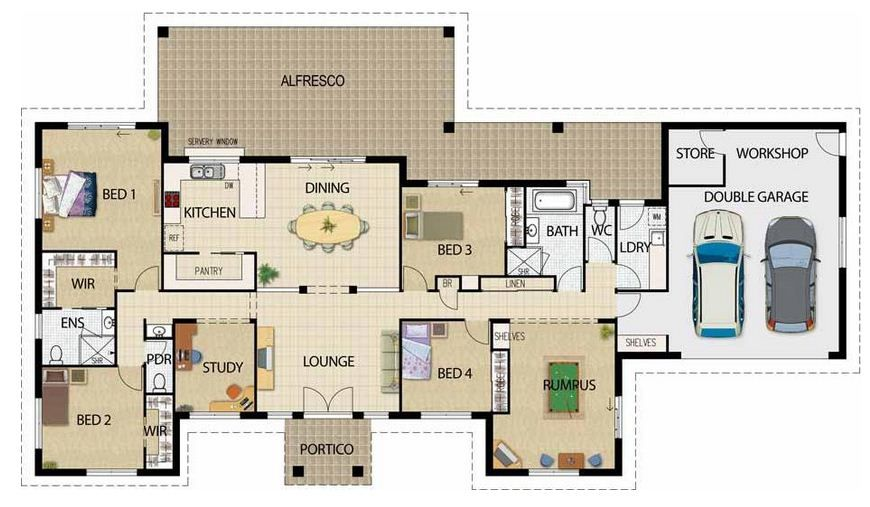 Plano de casa moderna de 250m2 en una planta planos for Oficinas modernas planos