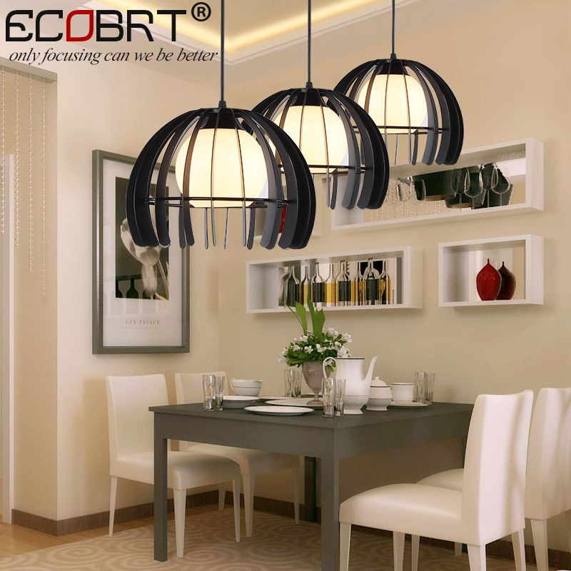 ECOBRT Vintage Iron And Glass Pendant Lights Loft Retro Bar Cafe