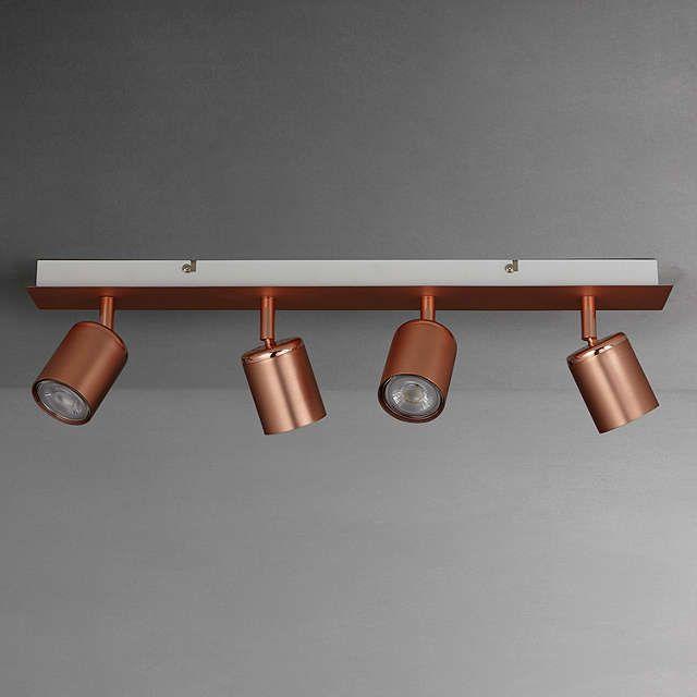 buyjohn lewis mode gu10 led spotlight bar 4 light copper online at johnlewis - Spotlight Kitchen Lights
