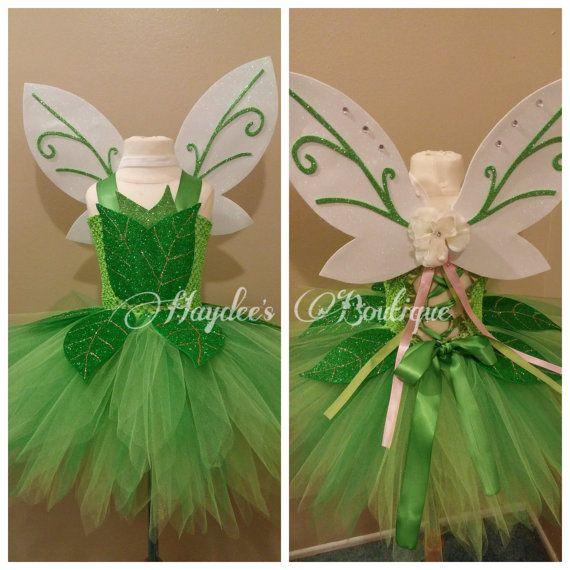 Green Fairy Tutu Dress Set Disfraz Campanilla Niña