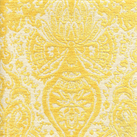 Gilsey Canary Yellow Chenille Paisley Upholstery Fabric By