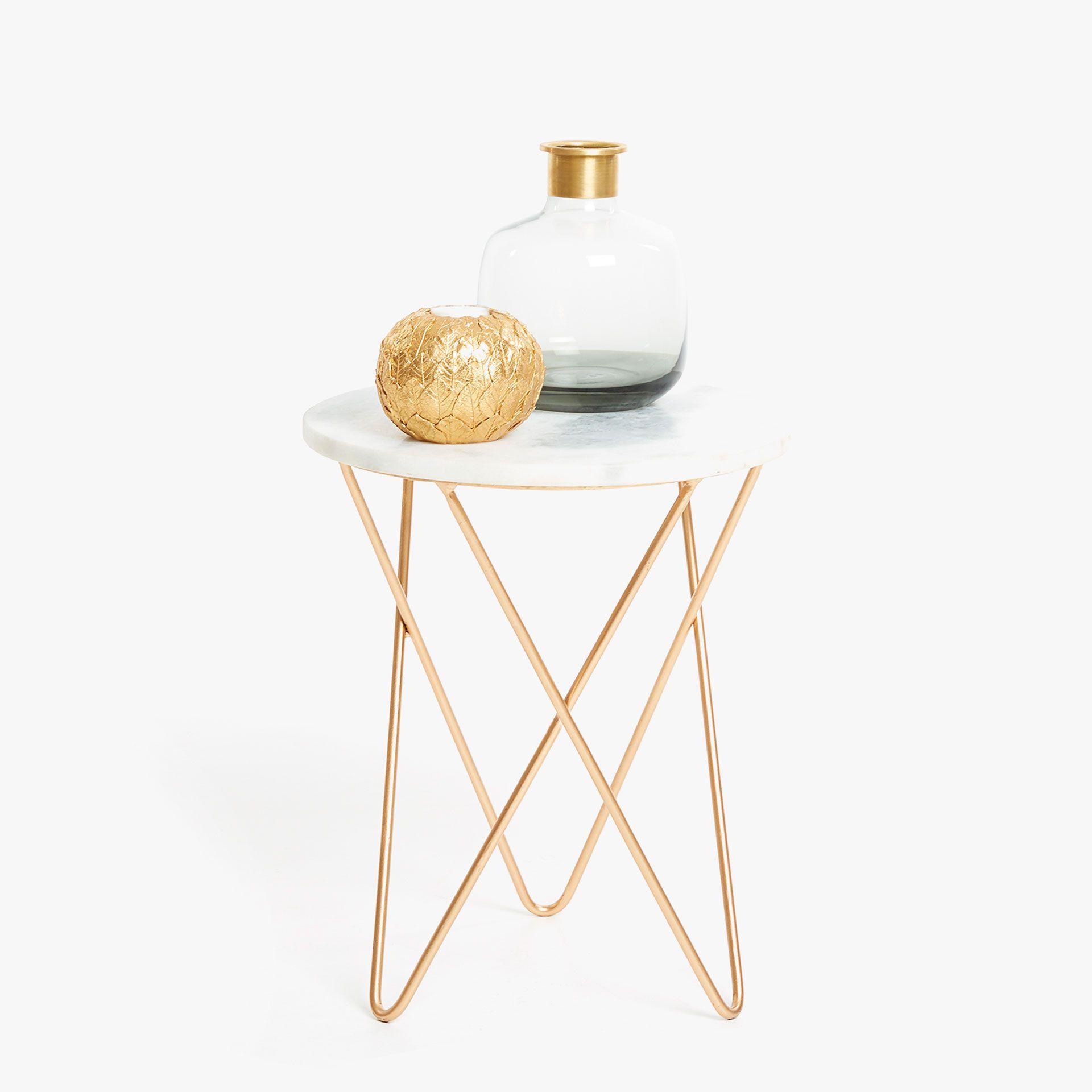 Zara Sofa Table: Imagen 1 Del Producto MESA MÁRMOL PIE METÁLICO CRUZADO
