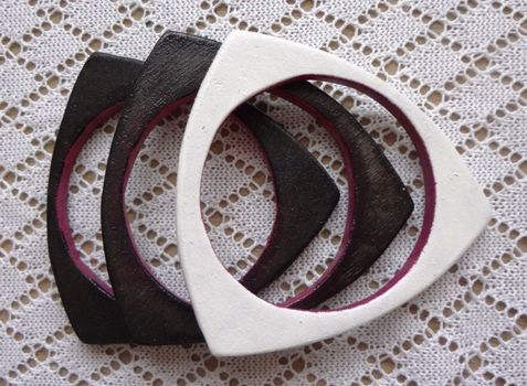 Plywood Triangle Bangle = cardboard + paper mache? FIMO Clay + Sharpies? #bracelet