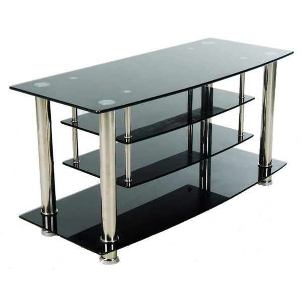 Black Chrome Tiered Tempered Glass Tv Stand Master Bedroom