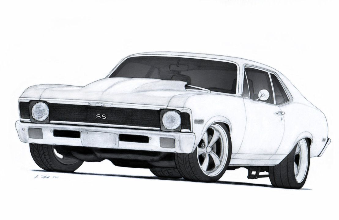 1972 Chevrolet Nova SS Pro Touring Drawing by Vertualissimo on ...
