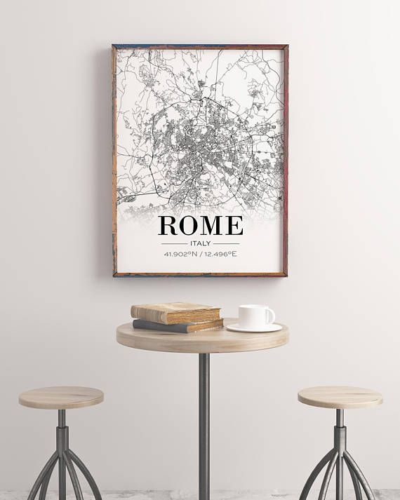 Rome Map Print Rome Map Poster Rome City Map Italy Print City Map Print Italy Poster Roma Italia Live Room Print Coordinates Poster Rome Map Living Room Art City Map Poster