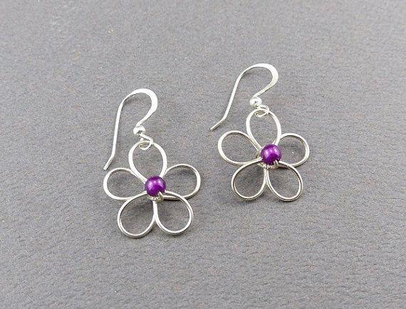 Silver Wire Flower Earrings — AUS Postage — Jewellery Sterling 925 Flowers