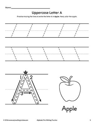 Uppercase Letter A Pre Writing Practice Worksheet Pre Writing