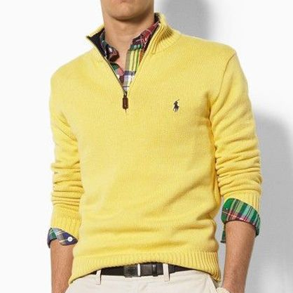 Men Half-Zip Sweaters - Ralph Lauren Maybe not with yellow/plaid but dark  blue and a mid-blue/white plaid