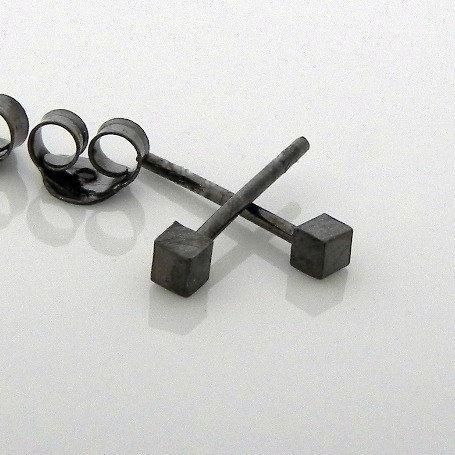 mens earrings 10mm black stud earrings hypoallergenic stud earrings Charcoal black stud earrings