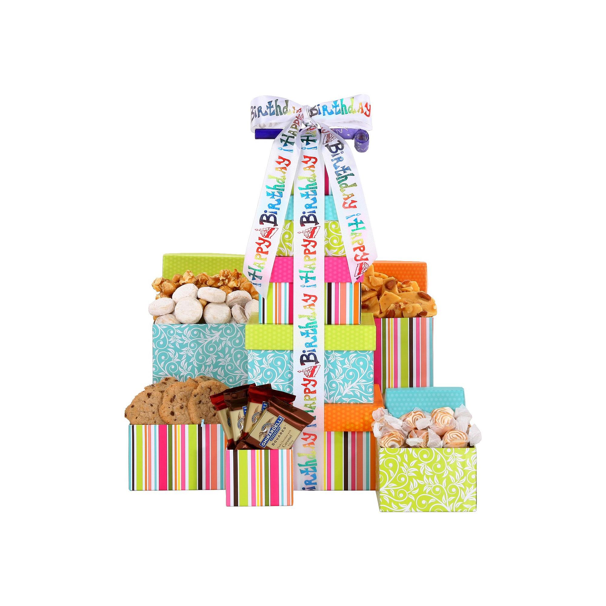 Alder creek gifts happy birthday treats 5tier gift tower