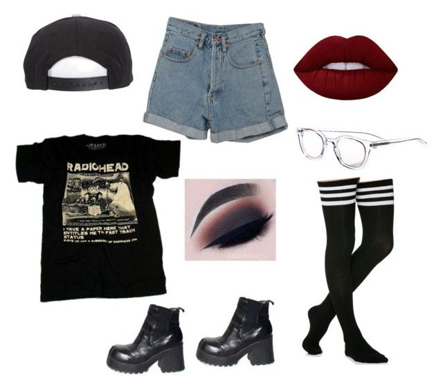"""Untitled #1805"" by jack-barakat-trash ❤ liked on Polyvore featuring Brixton, PèPè, eyebobs and Lime Crime"