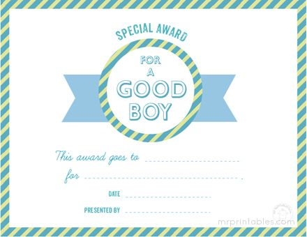 Free Printable Certificates  Awards For Kids For Good Behavior And