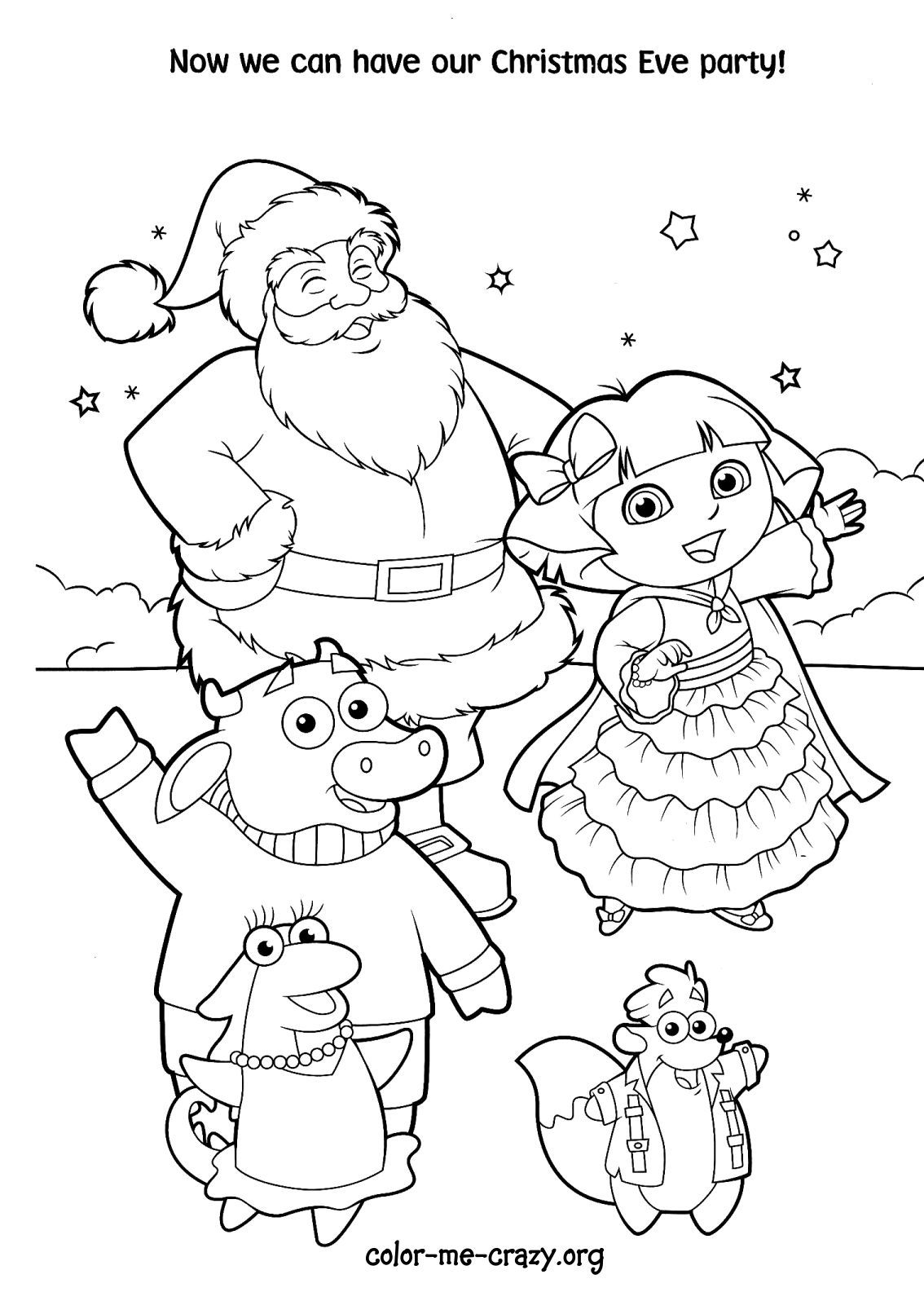 Dora Parties With Santa And Friends Coloring Page Coloring Pages Kids Coloring Books Christmas Coloring Pages