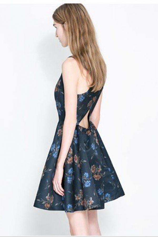 #Floral Cross Back A-line #Dress