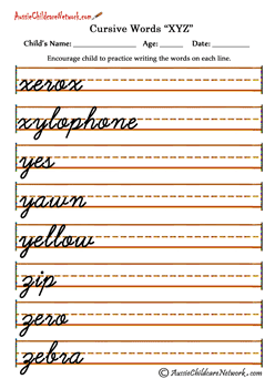 tracing Cursive letters worksheets XYZ | Z | Pinterest | Cursive ...