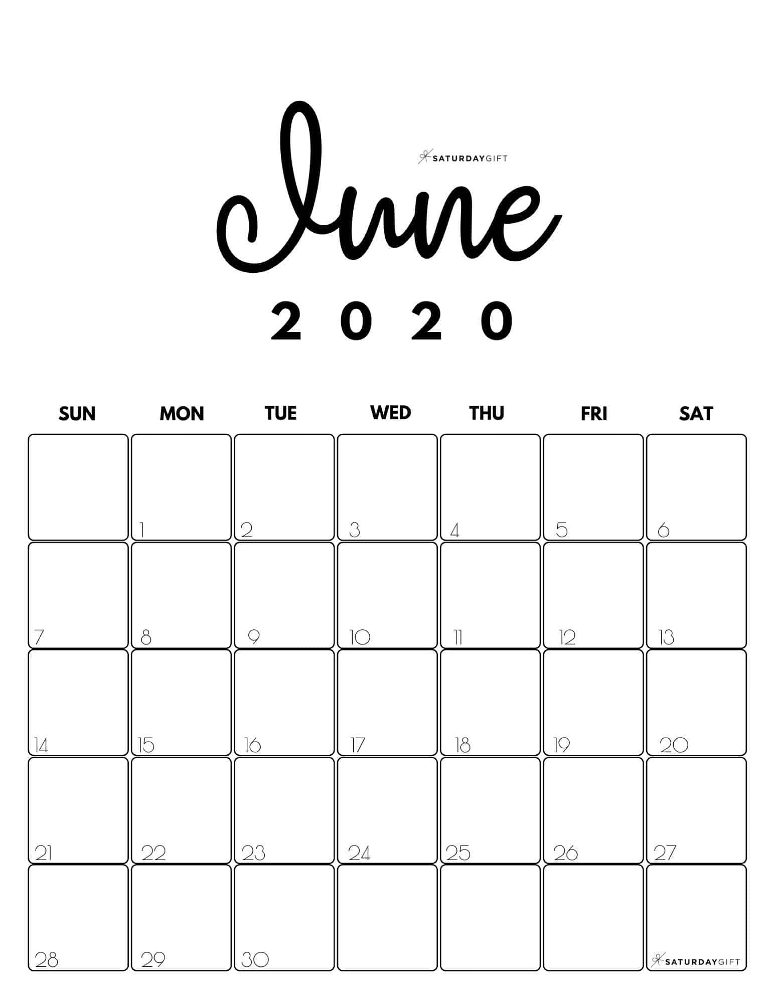 Cute Free Printable June 2021 Calendar Saturdaygift In 2020 Calendar Printables June Calendar Printable Cute Calendar
