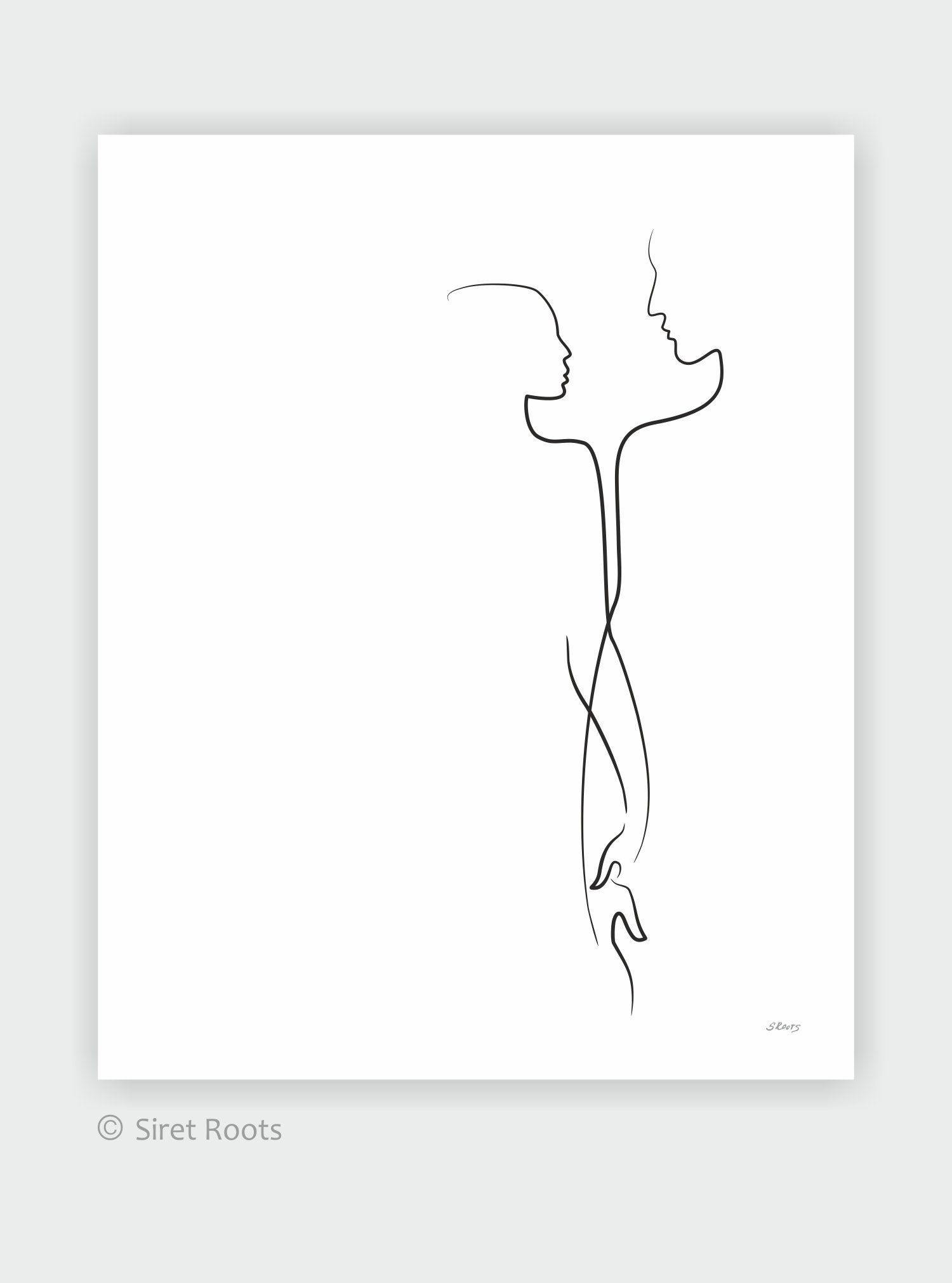 Romantic couple art print. Minimalist line drawing of a man and woman holding hands. Love illustration.