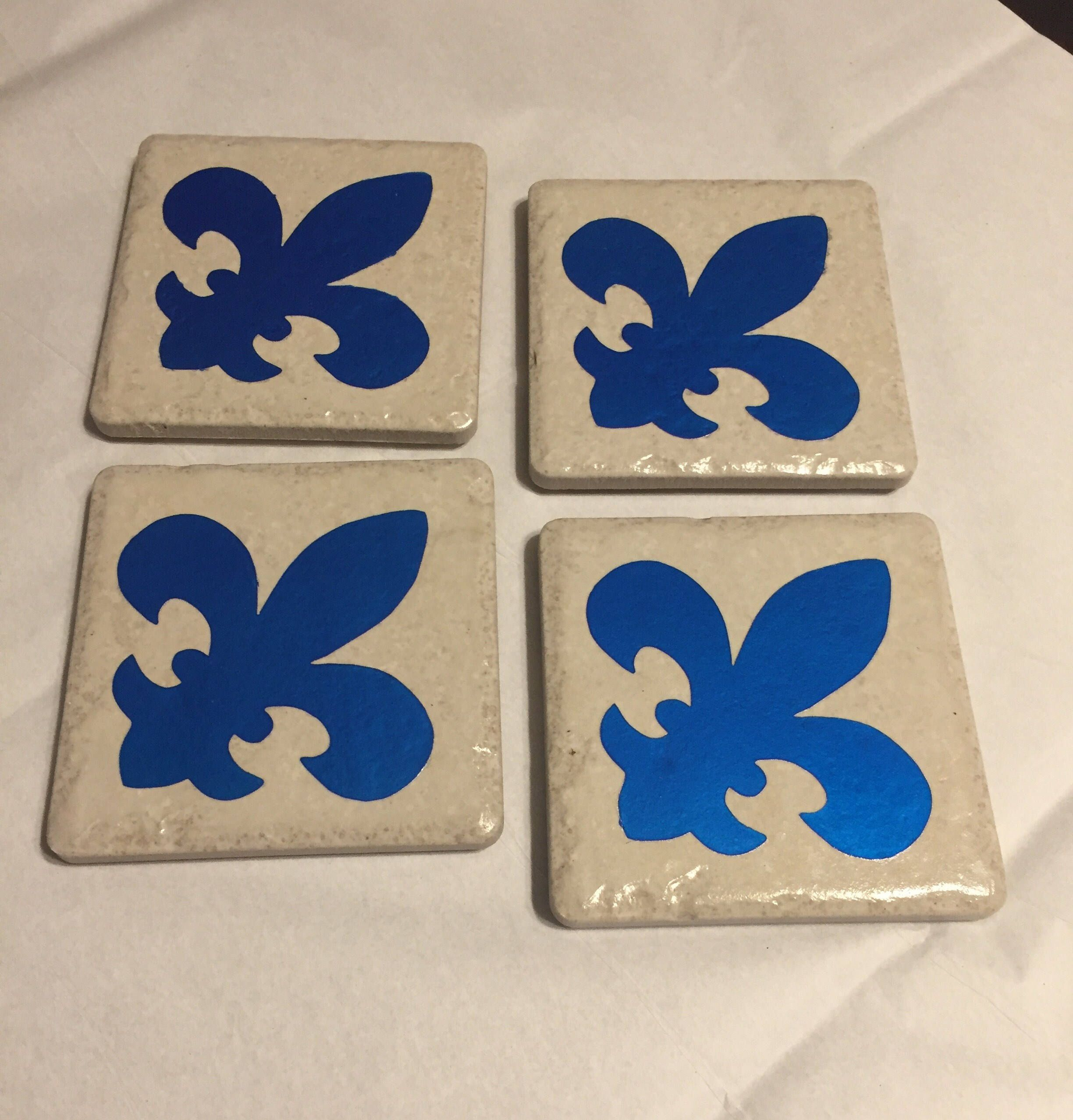 Blue Fleur De Lis Decorative Tile Coasters Set Of 4 Etsy Fleurdelisdecor