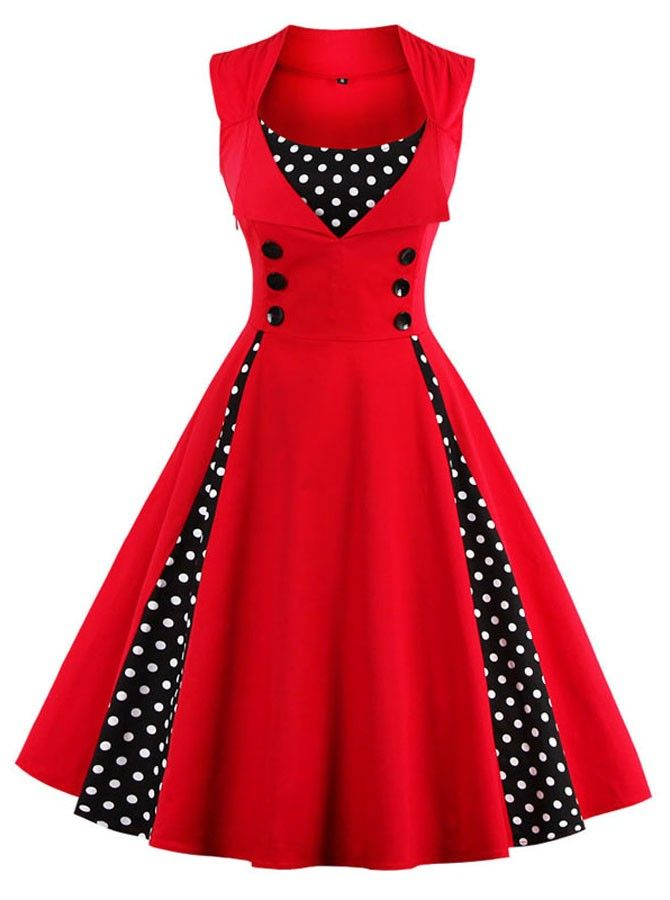 50s Red Polka Dots Button Vintage Swing Party Dress