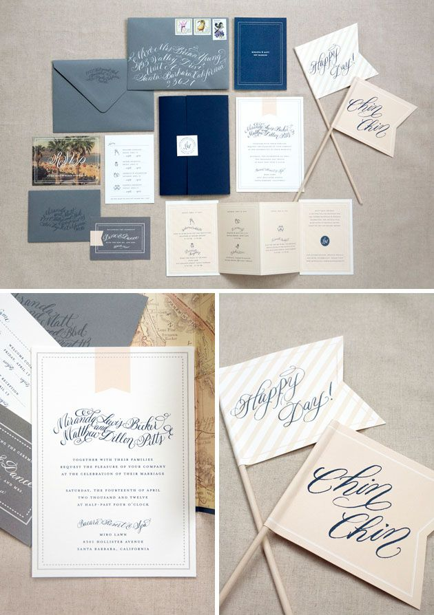 navy wedding invitations, add small coral accents, take out flags.